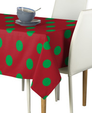 "3"" Green Dots on Red Signature Rectangle Tablecloths"