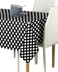 White Dots on Black Signature Rectangle Tablecloths
