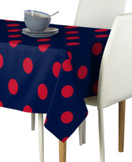 "3"" Red Dots on Navy Signature Rectangle Tablecloths"
