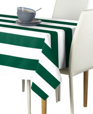 Forest & White Cabana Stripe Signature Tablecloth