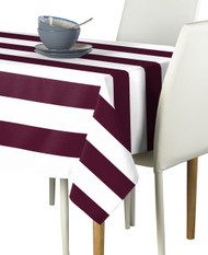 Burgundy & White Cabana Stripe Signature Tablecloth