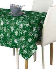 Winter Green Christmas Snowflakes Milliken Signature Rectangle Tablecloths