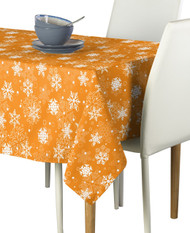 Winter Orange Christmas Snowflakes Milliken Signature Rectangle Tablecloths