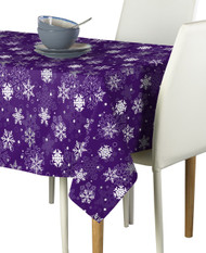 Winter Purple Christmas Snowflakes Milliken Signature Rectangle Tablecloths