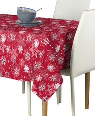 Winter Red Snowflakes Milliken Signature Rectangle Tablecloths