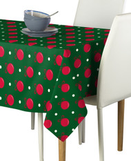 Green Christmas Balls Milliken Signature Rectangle Tablecloth