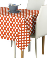 White Dot on Orange Milliken Signature Rectangle Tablecloths