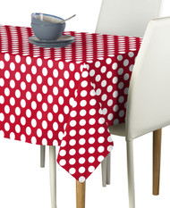 White Dot on Red Milliken Signature Rectangle Tablecloths