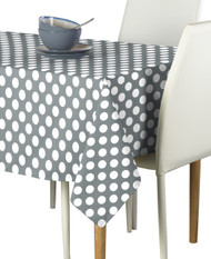 White Dot on Gray Milliken Signature Rectangle Tablecloths