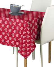 Christmas White Trees on Red Milliken Signature Rectangle Tablecloths