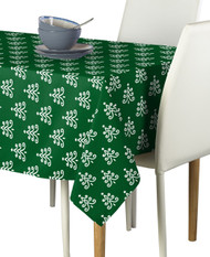 Christmas White Trees on Green Milliken Signature Rectangle Tablecloths