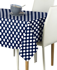 White Dot on Navy Milliken Signature Rectangle Tablecloths