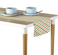Christmas Green & Red Diagonal Stripe Table Runner - Assorted Sizes