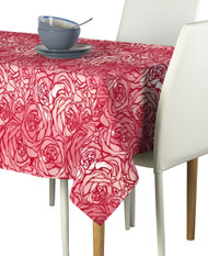 Hand Drawn Pink Roses Milliken Signature Rectangle Tablecloths