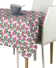 Pink Roses & Leaves Milliken Signature Rectangle Tablecloths