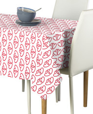 A Pair of Hearts White Milliken Signature Rectangle Tablecloths