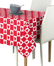 Checkmate Hearts Red Signature Rectangle Tablecloths