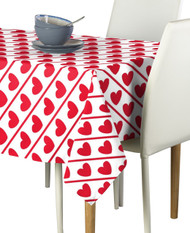 Hearts Diagonal Stripe Milliken Signature Rectangle Tablecloths