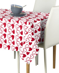 Tossed Hearts Red & White Signature Rectangle Tablecloths