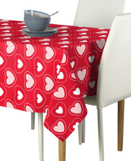 Hearts in Stitches Red Signature Rectangle Tablecloths
