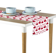 Tossed Hearts Red & White Table Runner - Assorted Sizes