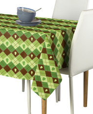 Lucky Green Shamrock Argyle Milliken Signature Rectangle Tablecloths
