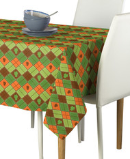 Lucky Green & Orange Shamrock Argyle Signature Rectangle Tablecloths