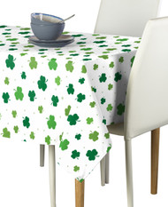 Tossed Shamrocks White Signature Rectangle Tablecloths