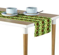 Lucky Green Shamrock Argyle Table Runner - Assorted Sizes