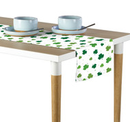 Tossed Shamrocks White Table Runner - Assorted Sizes