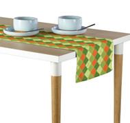 Orange & Green Argyle Plaid Table Runner - Assorted Sizes