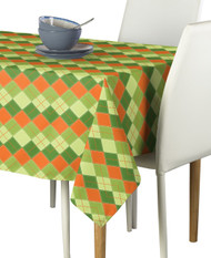 Orange & Green Argyle Plaid Signature Rectangle Tablecloths