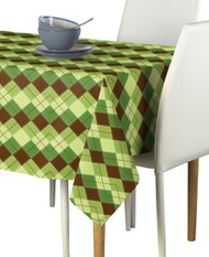 Green & Brown Argyle Plaid Milliken Signature Rectangle Tablecloths