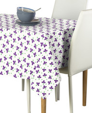 Purple Spring Flowers Milliken Signature Rectangle Tablecloths