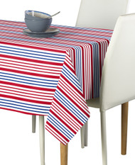 Red & Blue Multi Stripe Milliken Signature Rectangle Tablecloths