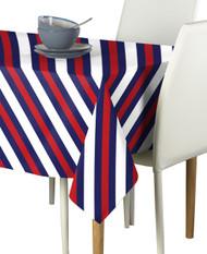 Nautical Red & Blue Diagonal Stripe Milliken Signature Rectangle Tablecloths