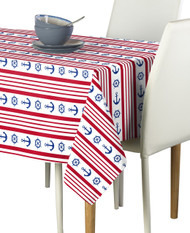 Nautical Red Stripe Anchors & Wheels Milliken Signature Rectangle Tablecloths