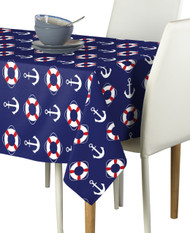 Assorted Sizes! Nautical Anchors /& Wheels White Signature Tablecloths