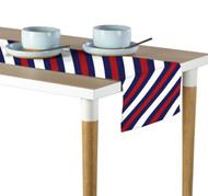 Nautical Red & Blue Diagonal Stripe Milliken Signature Table Runner - Assorted Sizes
