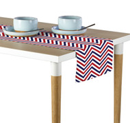 Red, White & Blue Chevron Milliken Signature Table Runner - Assorted Sizes