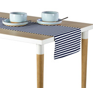 Navy Blue Small Stripes Milliken Signature Table Runner - Assorted Sizes