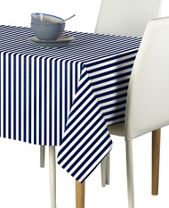 Navy Blue Small Stripes Milliken Signature Rectangle Tablecloths