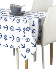 Nautical Anchors & Wheels White  Milliken Signature Rectangle Tablecloths