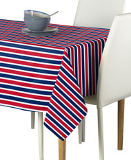 Red & Blue Stripes Milliken Signature Rectangle Tablecloths