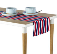 Red & Blue Stripes Milliken Signature Table Runner - Assorted Sizes