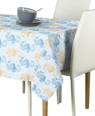 Marine Life Seahorses Blue Signature Rectangle Tablecloths
