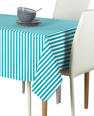 Turquoise Small Stripes Milliken Signature Rectangle Tablecloths