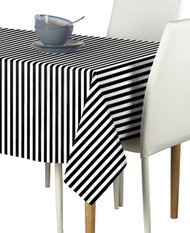Black Small Stripes Milliken Signature Rectangle Tablecloths