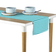 Turquoise Small Stripes Milliken Signature Table Runner - Assorted Sizes