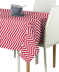 Red Chevron Milliken Signature Rectangle Tablecloths